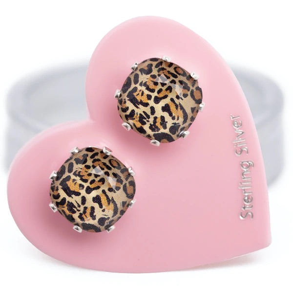 fierce leopard animal print jojo loves you mini cushion earrings sterling silver swarovski crystal