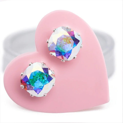 crystal ab mini cushion jojo loves you earrings sterling silver swarvoski crystal