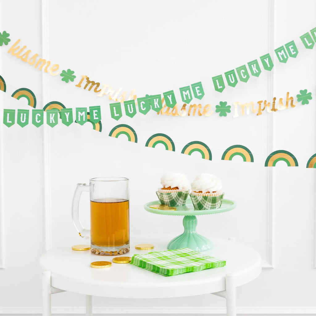 Lucky St. Patrick's Day Banner Set kiss me shamrock rainbow st patrick's day decorations party