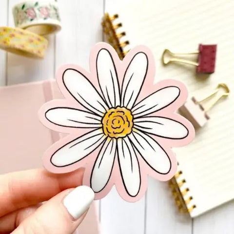 Pink Watercolor Daisy Sticker
