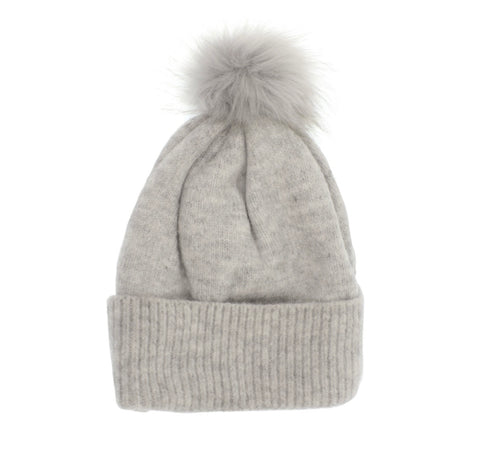 Grey Fine Rib Knit Pom Pom Hat