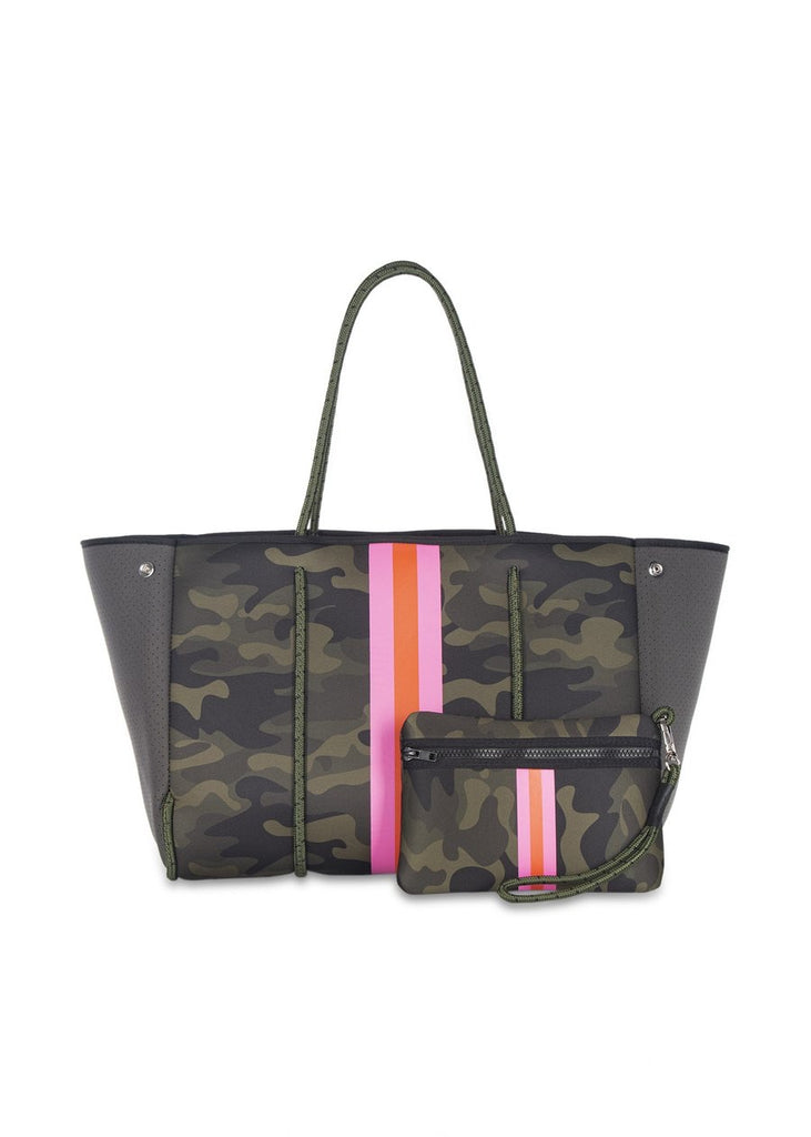 Greyson Tote Showoff Green Camo/Pink orange pink stripe green camo neoprene large tote haite shore bags