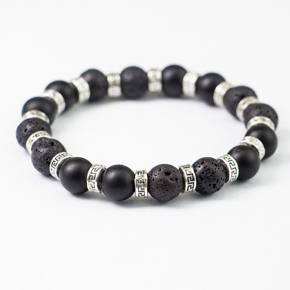10mm Black Matte Lava Stone With Silver Spacers Men's Gemstone Bracelet