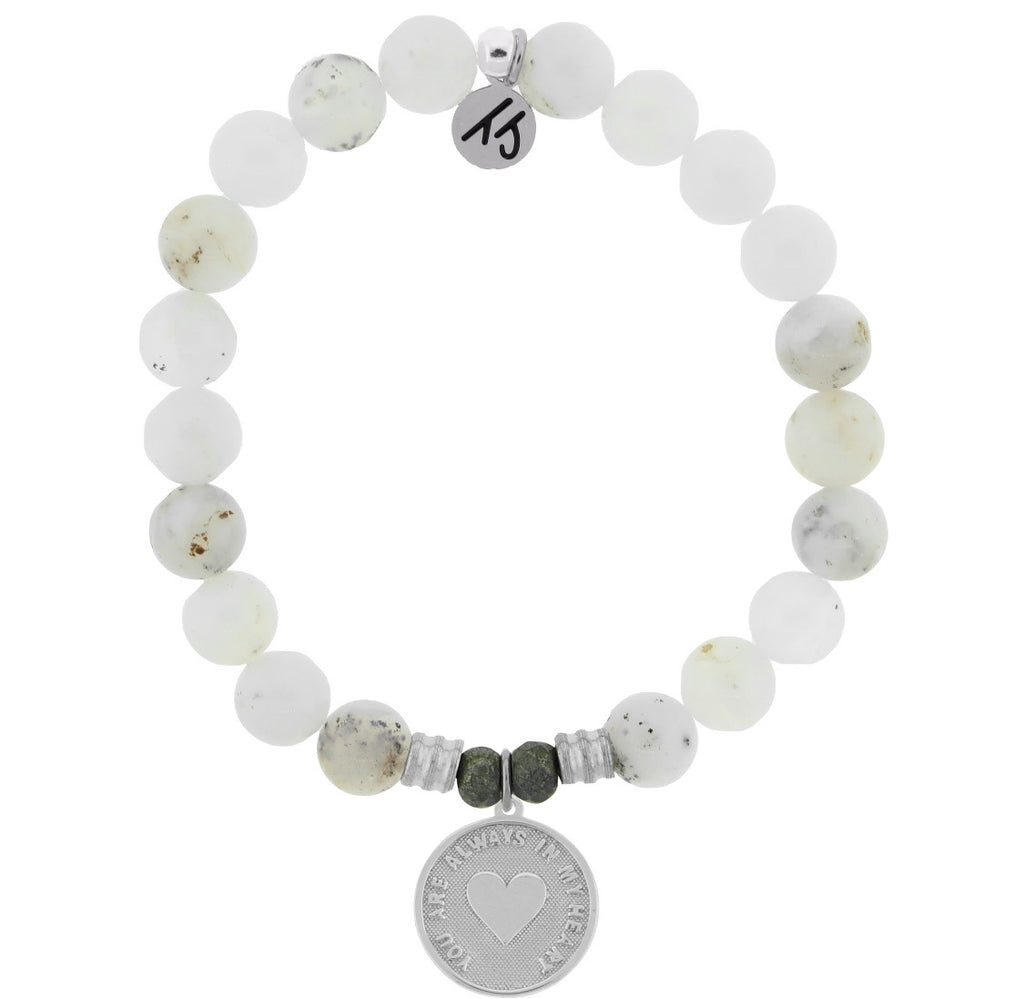 New TJazelle Always in my heart white chalcedony