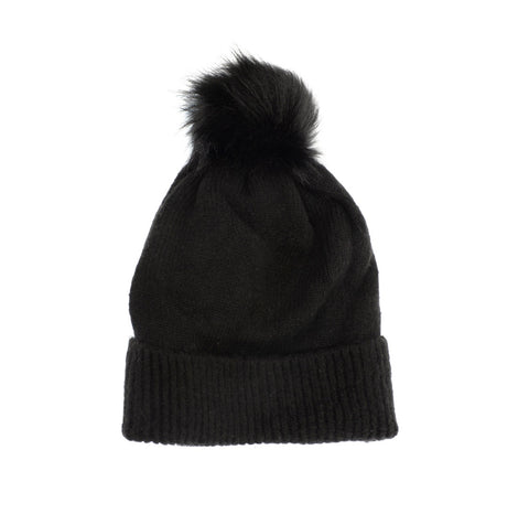 Black Fine Rib Knit Pom Pom Hat