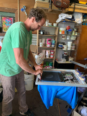 On site with screen printer, Gabe Heussenstamm
