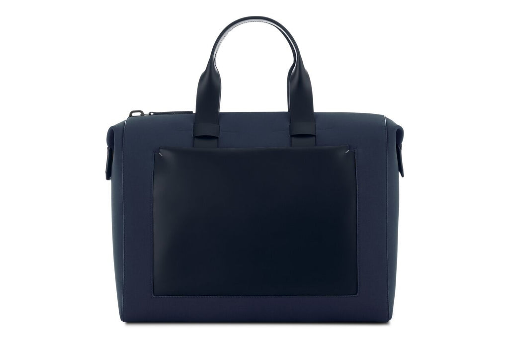 Navy Blue Fabric and Leather Men's 24-Hour Bag