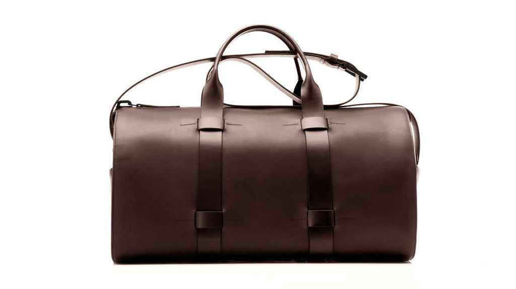 Men's day bag - brown leather - gym bag - classy, professional