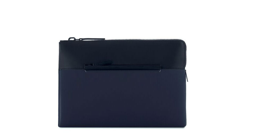 Navy Portfolio Case - Fabric and Leather