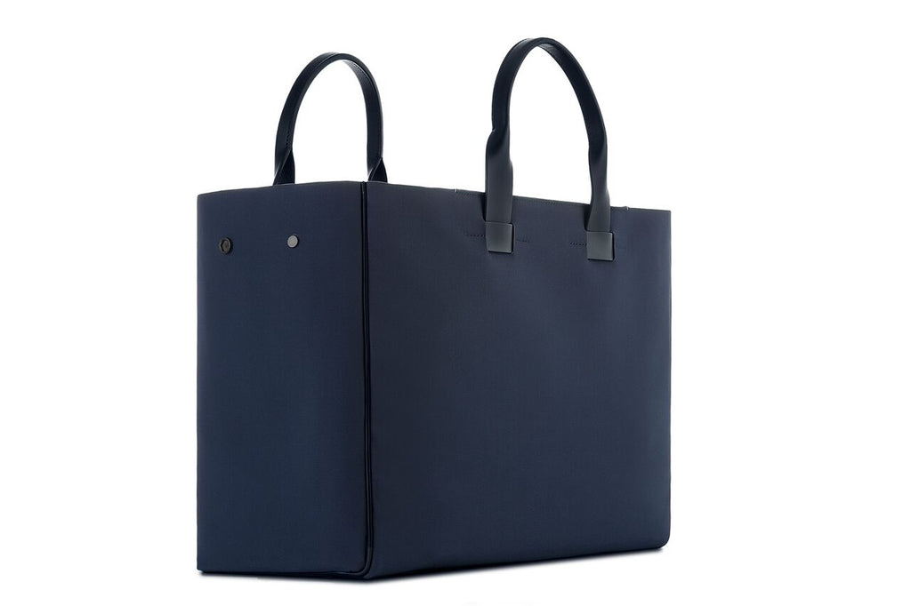 Fabric and Leather Tote Bag - Navy Coated Canvas