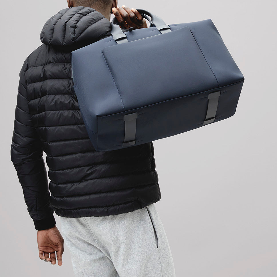 Mens Weekend Bag - Navy Blue Nylon and Leather, Minimal