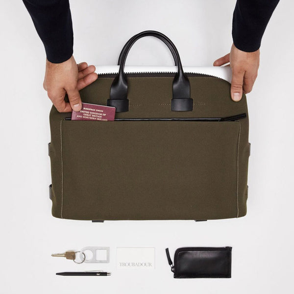 FABRIC + LEATHER SLIM BRIEFCASE