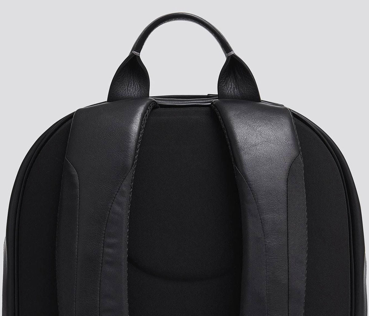 Rucksack shoulder straps and leather handle