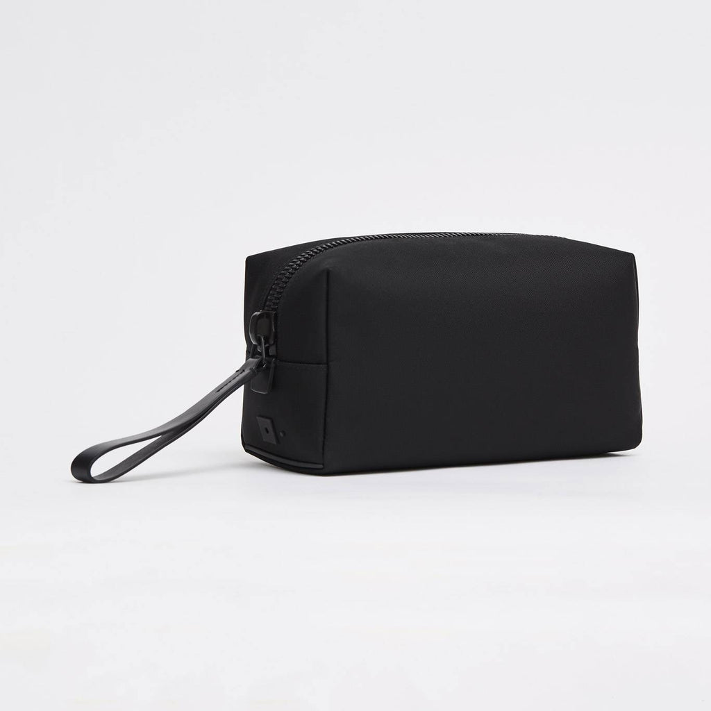 Black fabric and leather wash bag (dopp kit)