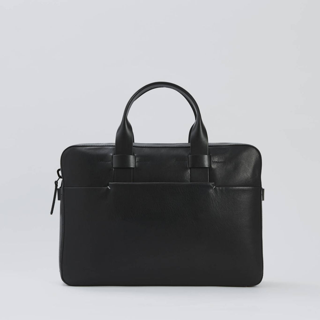 Men's black leather briefcase (front view with raised leather handle)