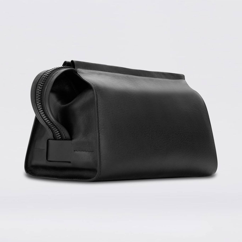 black leather washbag, luxury, quality
