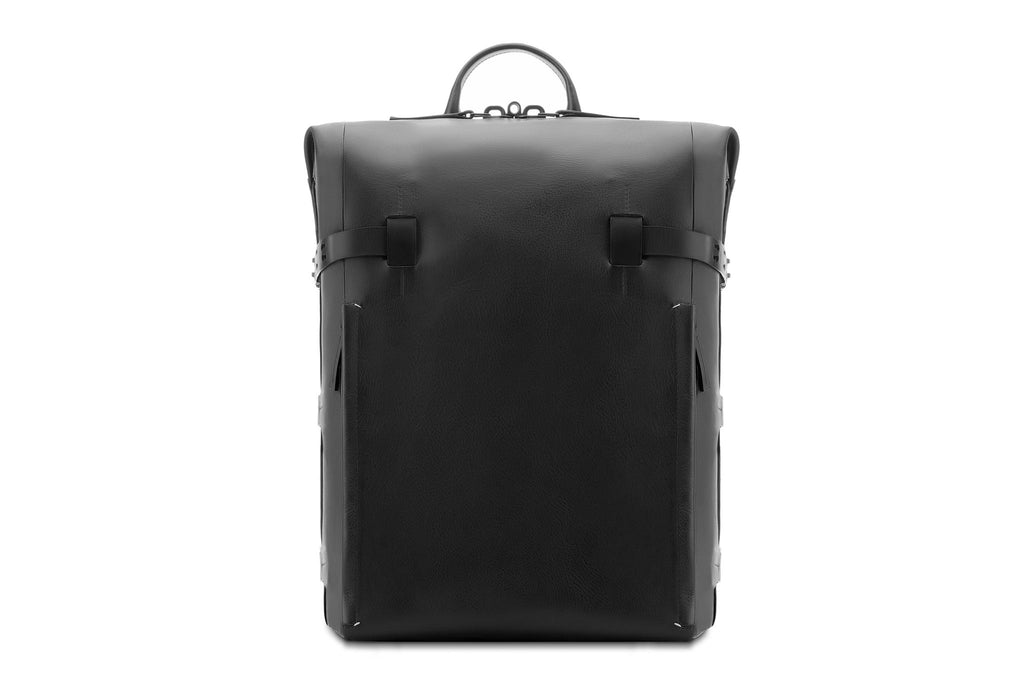 Mens Black Leather Rucksack - High Quality