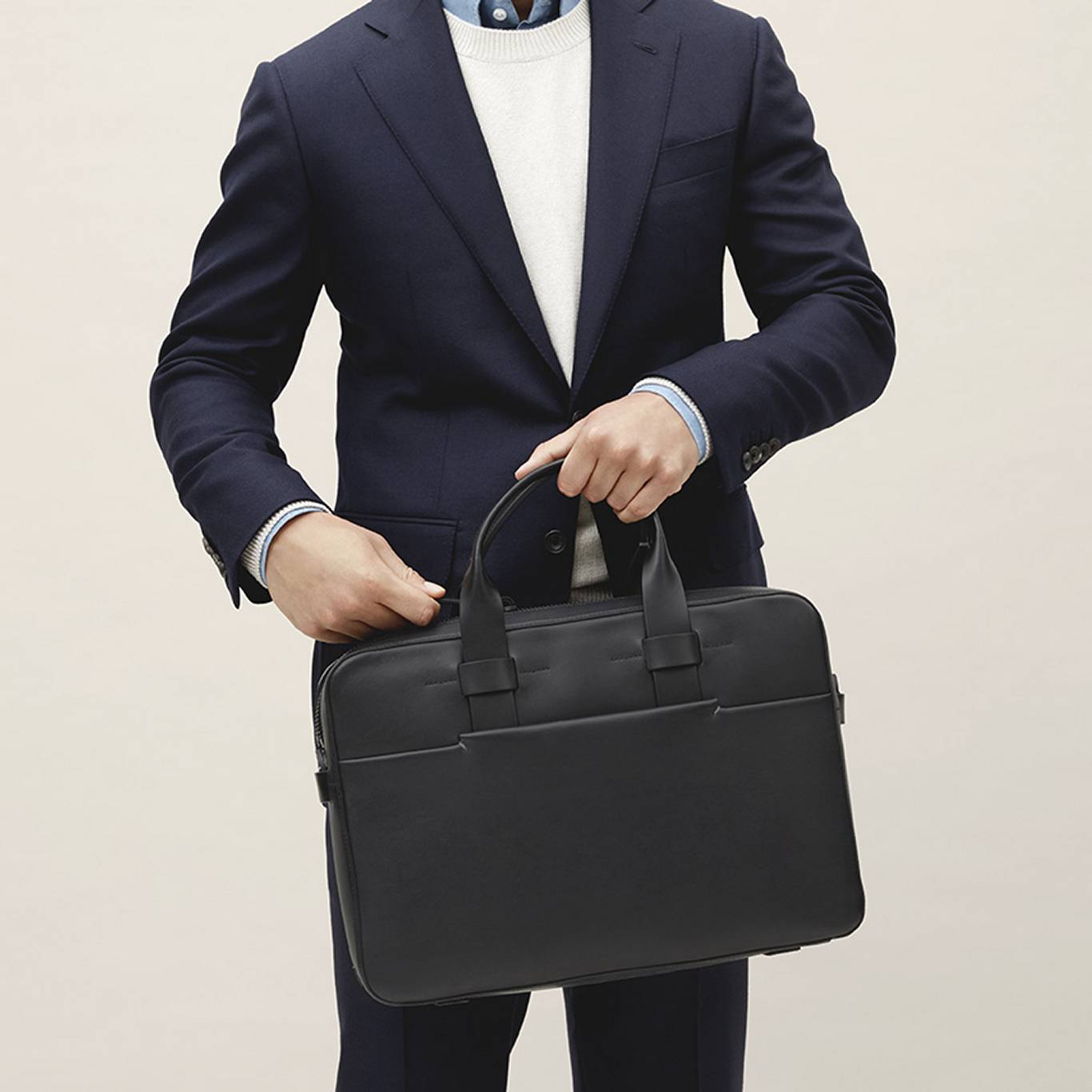 95fefa75026a business navy blue suit with Troubadour black leather briefcase