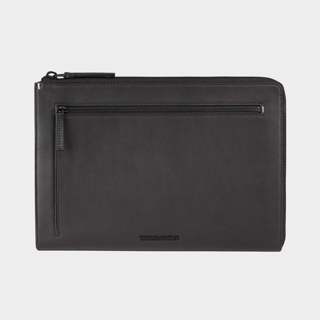 Black leather slim portfolio case, luxury, minimal