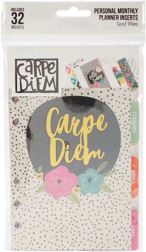 Carpe Diem Good Vibes Double-Sided Personal Planner Inserts-Good Vibes, Undated