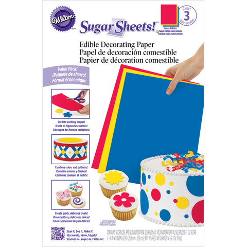 "Sugar Sheets 8""X11"" 3/Pkg-Primary"