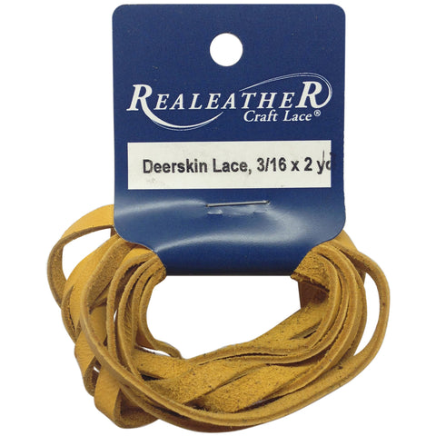 "Realeather Crafts Deerskin Lace .1875""X2yd Packaged-Gold"