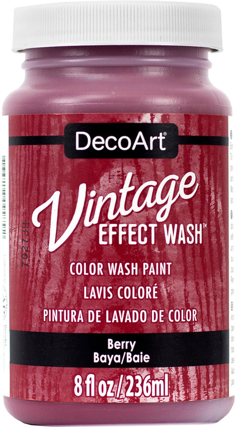 DecoArt Vintage Effect Wash Paint 8oz-Berry