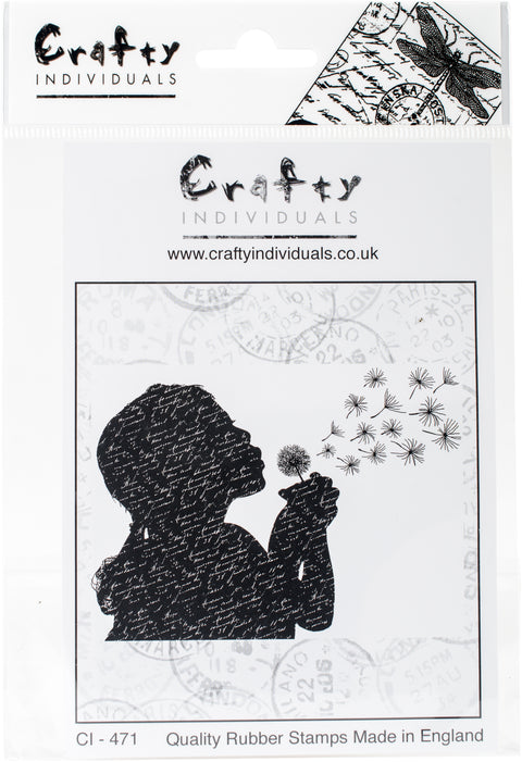 "Crafty Individuals Unmounted Rubber Stamp 4.75""X7"" Pkg-Make A Wish"