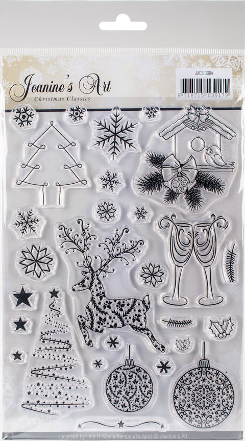"Find It Trading Jeanine's Art Clear Stamps 6""X8.25""-Christmas Classics"