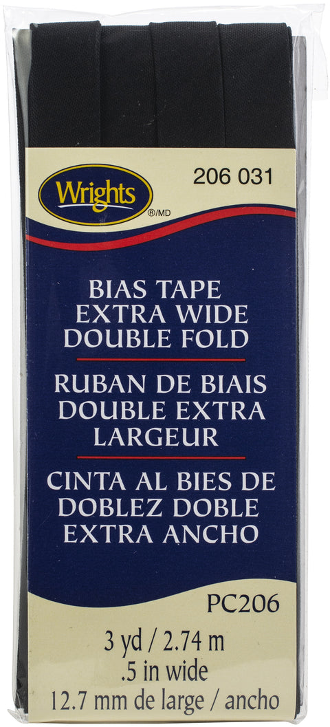 "Wrights Double Fold Bias Tape .5""X3yd-Black"