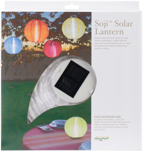 "Soji Original Round Nylon Solar Lantern 10""-White W/Amber Light"