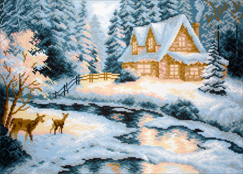 Collection D'Art Stamped Cross Stitch Kit 37X49cm-Taiga House
