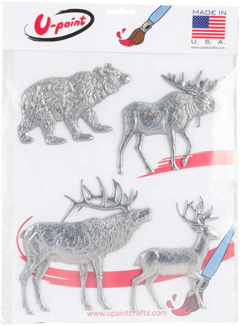 U-Paint Metal Embellishments 4/Pkg-Forest Wild Life