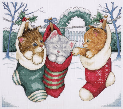 "Design Works Counted Cross Stitch Kit 12""X14""-Cozy Kittens (14 Count)"