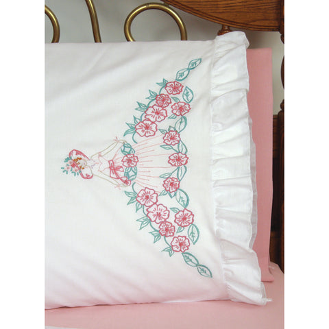 "Fairway Stamped Ruffled Edge Pillowcases 30""X20"" 2/Pkg-Flower Lady"
