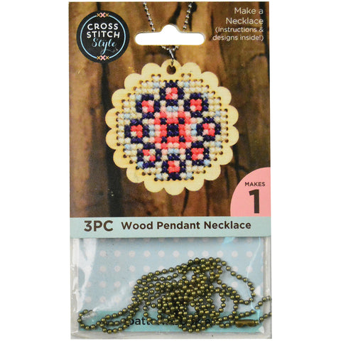 Cross Stitch Style Wood Necklace Punched For Cross Stitch-Scalloped Circle W/