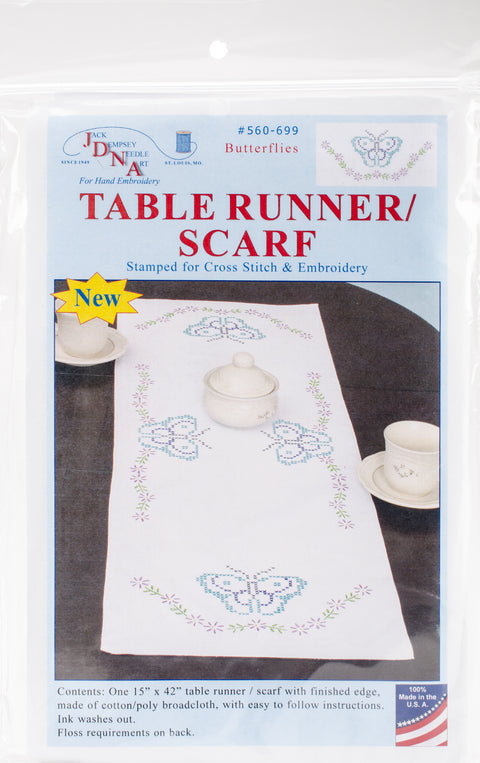 "Jack Dempsey Stamped Table Runner/Scarf 15""X42""-Butterflies"