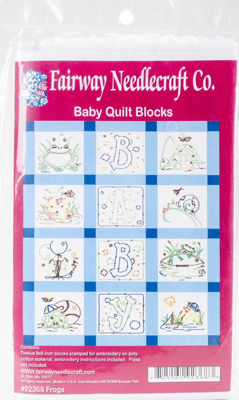 "Fairway Stamped Baby Quilt Blocks 9""X9"" 12/Pkg-Frog"