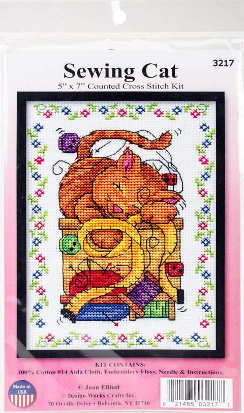 "Design Works Counted Cross Stitch Kit 5""X7""-Sewing Cat (14 Count)"