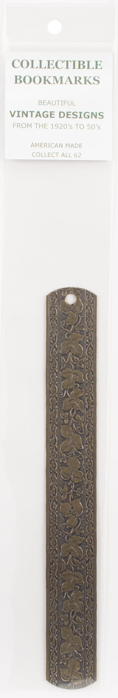 U-Paint Collectible Vintage Antique Brass Bookmark-Ivy Leaf Scroll
