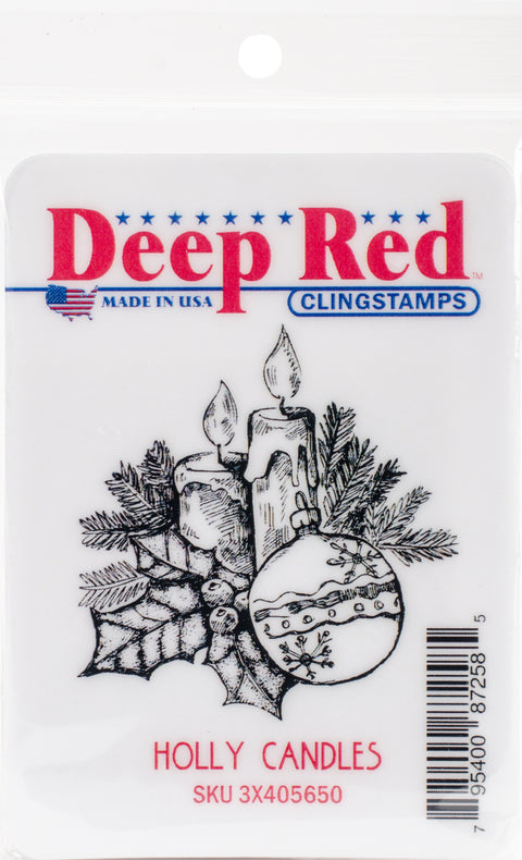 "Deep Red Cling Stamp 2""X2.1""-Holly Candles"