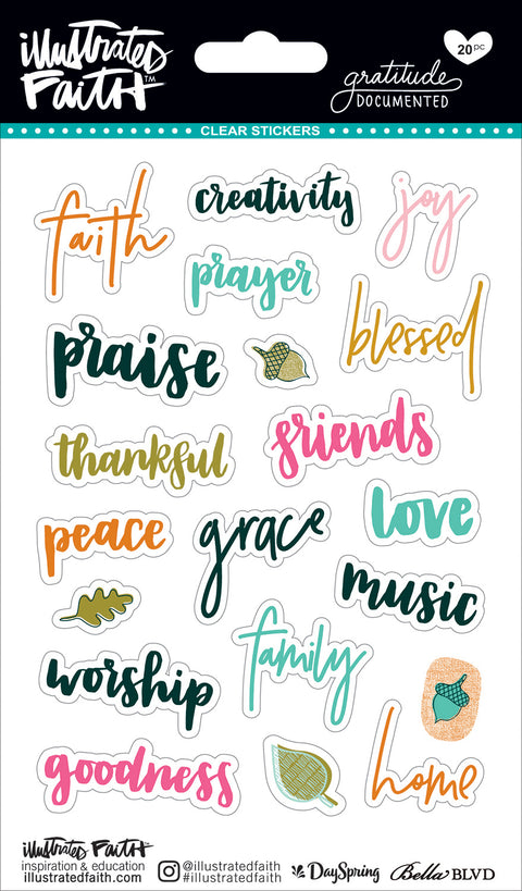 Illustrated Faith Gratitude Documented Clear Stickers-Words