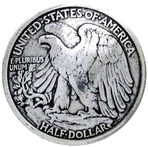 "Concho Antique Silver Screwback 1.125""-Bald Eagle Half Dollar"