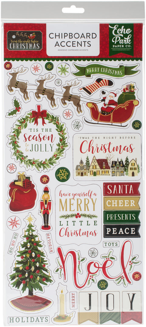 "'Twas The Night Before Christmas Chipboard Accents 6""X13""-"