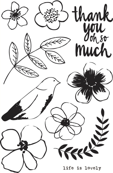 "Flora & Fauna Clear Stamps 4""X6""-Life Is Lovely Flower"