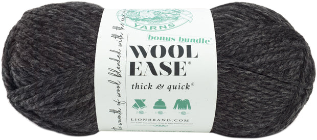 Lion Brand Wool-Ease Thick & Quick Bonus Bundle Yarn-Charcoal