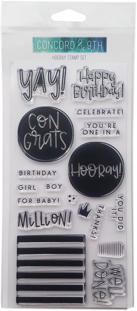 "Concord & 9th Clear Stamps 4""X8""-Hooray"