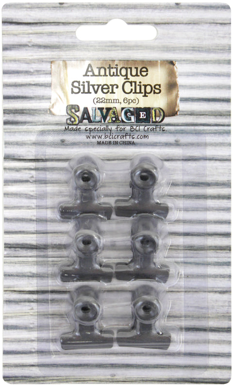 Antique Bull Clips 22mm 6/Pkg-Silver