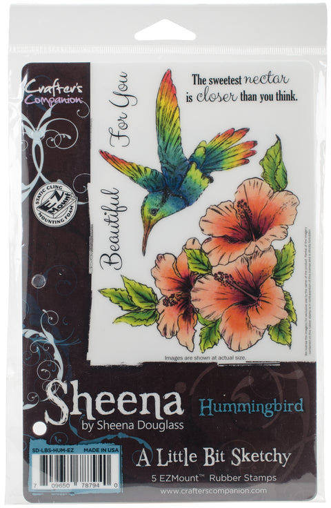Sheena's A Little Bit Sketchy Tropical Bird EZMount Stamps-Hummingbird
