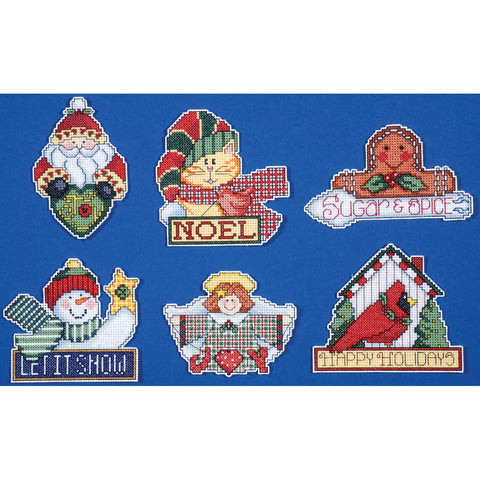 "Design Works Counted Cross Stitch Kit 3.5""X4"" Set of 6-Signs of Christmas"